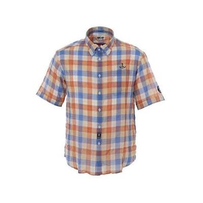 (シナコバ) SINA COVA 半袖ボタンダウンシャツ シャツ メンズ チェック (オレンジ系) M 20134520