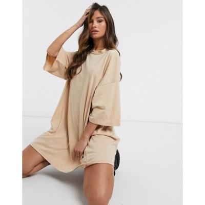 エイソス レディース ワンピース トップス ASOS DESIGN oversized t-shirt dress in camel