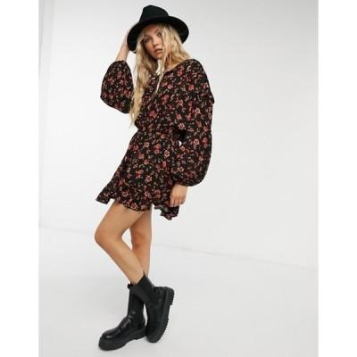 フリーピープル レディース ワンピース トップス Free People Flower Fields mini dress in black mutli