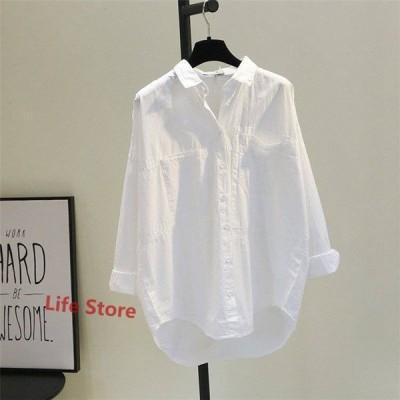シャツ ブラウス トップス シャツブラウス レディース 折り襟 長袖 無地 綿 コットン 前開き ベーシック ゆったり シンプル カジュアル きれいめ