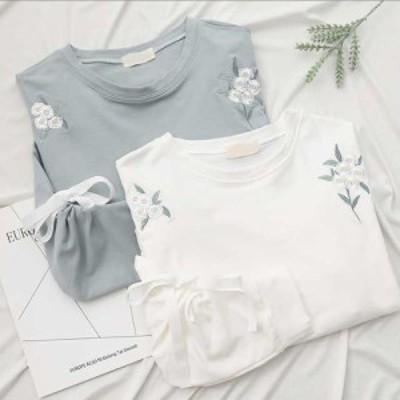 tしゃつレディース 半袖tシャツ 七分 バルーン かわいい 人気 新作tシャツ 夏 刺繍シャツ tシャツ 新作