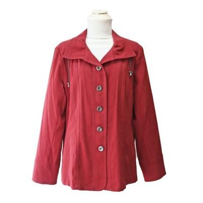 ジャケット 秋 LLサイズ 赤 レッド エトワール海渡 カジュアル 総裏 レディースファッション ミセス