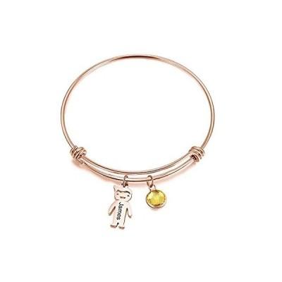 [新品]Personalized Birthstone Bangle Bracelets for Mother Custom Name Bracelet fo