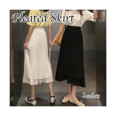 プリーツスカート レディース ロング丈 シンプル 春夏 かわいい カジュアル きれいめ ブラック ホワイト フリーサイズ
