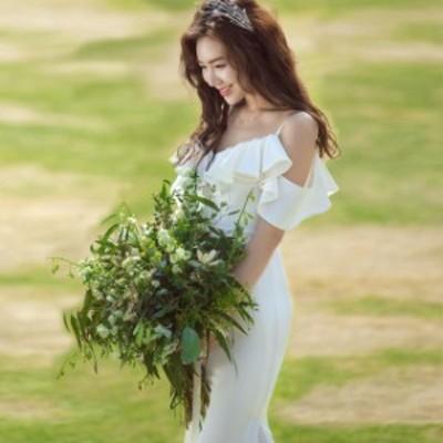 ウェディングドレス 二次会 花嫁ドレス 結婚式 ドレス パーティードレス マーメイド 大人 シンプル おしゃれ きれいめ 袖あり ナチュラル