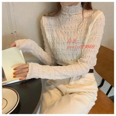 ハーフネックスリムデザイントップス トップス ブラウス シフォンブラウス ハイネック 薄手 オルチャン ギャザー 韓国 インナー レイヤード ファッション