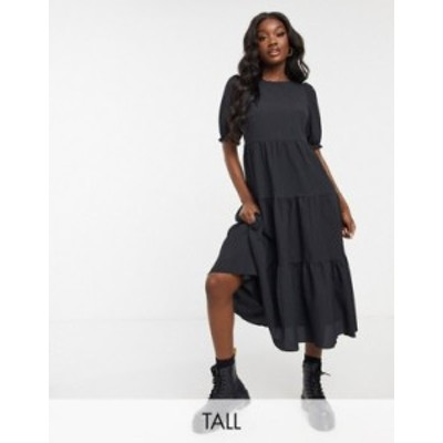 ニュールック レディース ワンピース トップス New Look Tall texture puff sleeve tiered midi dress in black Black