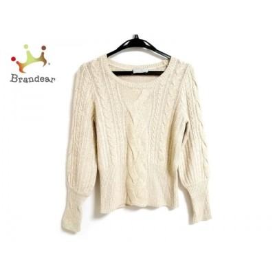 エポカザショップ 長袖セーター サイズ38 M レディース ベージュ×白×ゴールド ニット 新着 20200214