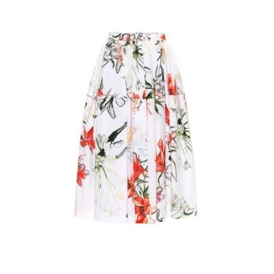 アレキサンダー マックイーン Alexander McQueen レディース ひざ丈スカート スカート Floral cotton midi skirt Ivory Mix