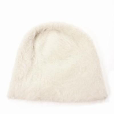 【中古】未使用品 レナードプランク 18AW アンゴラ ファー ウール ビニー ニット 帽子 ホワイト 白 SIZE 00 col.005