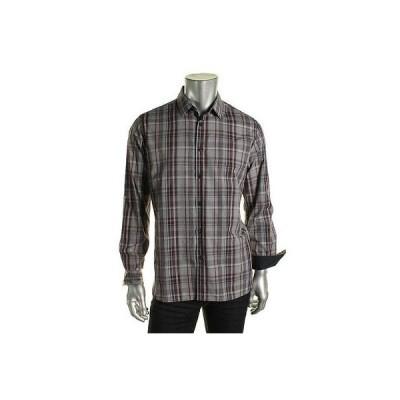 アルファーニ カジュアルシャツ トップス ウエア Alfani 8284 メンズ パープル Plaid 長袖 Button-Down Shirt Top XXL スリム BHFO