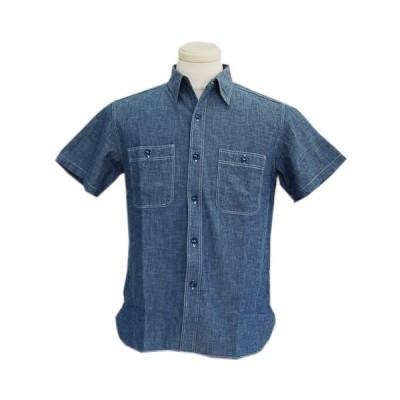 Buzz Rickson's(バズリクソンズ) 半袖シャツ ブルーシャンブレー S/S ワークシャツ(BLUE)