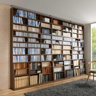幅90cm本体高さ232.5cm(脚元安定1cmピッチ棚板頑丈薄型書棚 突っ張りタイプ) ホワイト
