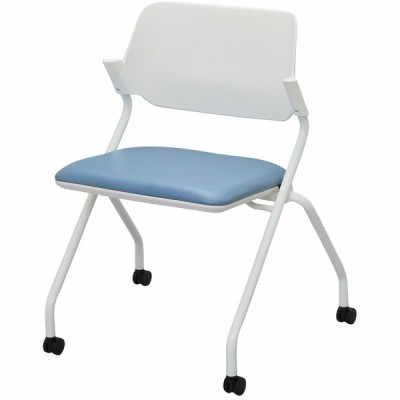 SYネスティングチェア 肘無し PVC アッシュブルー RFC-SYPAB アールエフヤマカワ RFyamakawa キャスター 平行スタッキング 会議椅子 オフィス家具
