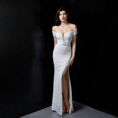 イブニングドレス パーティードレス 安い 可愛い ロング 結婚式 披露宴 パーティー 花嫁 ドレス 綺麗め オフショルダー