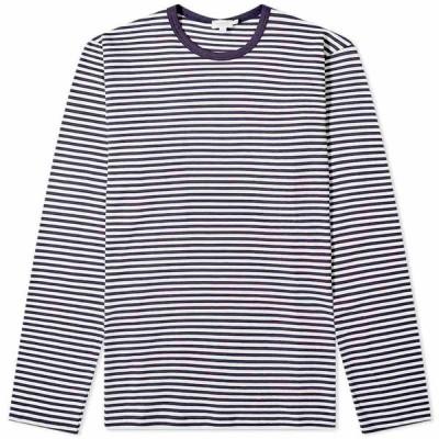サンスペル Sunspel メンズ 長袖Tシャツ トップス Long Sleeve English Stripe Tee White/Navy