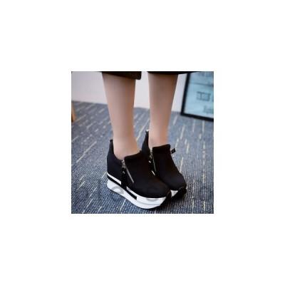 スニーカーレディースカジュアルシューズ厚底スニーカーサイドジップスリッポン痛くないおしゃれウォーキングシューズ女性靴