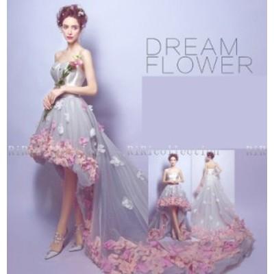 再々入荷 即納♪ ウェディングドレス  フラワー flower ドレス カラードレス 結婚式 披露宴 刺繍/ プリンセスライン/ミニドレ