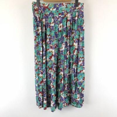 【古着】 キュロットスカート 花柄 ロング丈 グリーン系 レディースW28 【中古】 005444