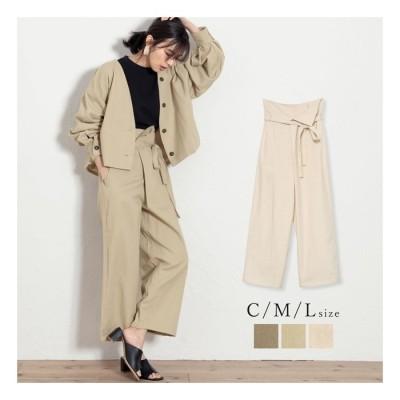 Re:EDIT コットンならではの風合いが魅力のカラーパンツ [低身長向けSサイズ対応]ウエストリボンラップ風ハイウエストパンツ パンツ/パンツ ベージュ L レディース