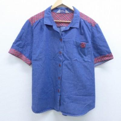 古着 レディース 半袖 シャツ 80年代 80s 大きいサイズ USA製 紺 ネイビー デニム spe 中古 ブラウス トップス シャツ トップス 古着
