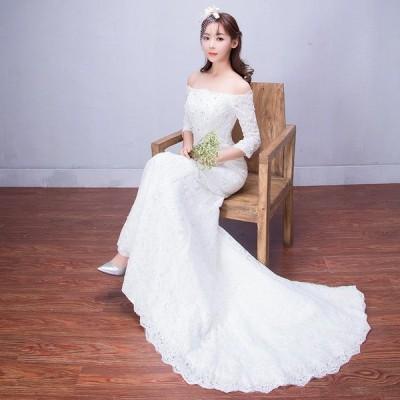 ウェディングドレス 結婚式 マーメイドライン 長袖 花嫁 ウエディングドレス 安い ロングドレス マーメイドドレス 二次会 ブライダル 披露宴 白 大きいサイズ