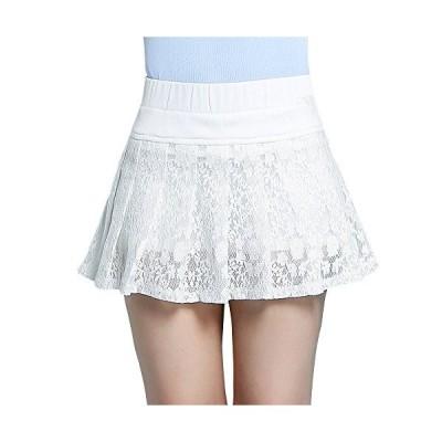 レディース 白 黒 レース スカート プリーツ シフォン aライン ミニスカート ウエストゴム 夏 ふんわり 可愛い