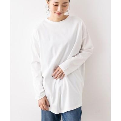 tシャツ Tシャツ 綿100% 無地裾ラウンド長袖Tシャツ
