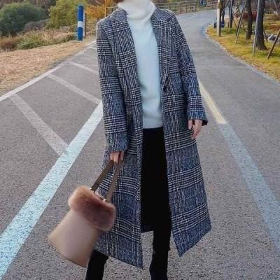 コート    今季トレンド ロング コート チェック レトロ ツイード ストレート 通勤 きれいめ 千鳥格子 イベント 女子会 カッコ可愛い