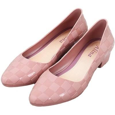 パンプス レイン シューズ ローヒール 防水 雨の日 晴雨兼用 靴 楽ちん おしゃれ 24.0cm(ピンクベージュ, 24.0 cm)