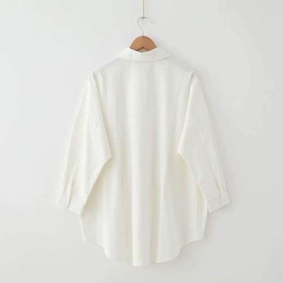シャツ 綿 トップス 長袖 ロールアップ 大きいサイズ ボタンアップ レディース ブラウス スキッパーシャツ バックボタン とろみ おしゃれ