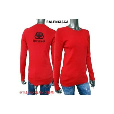 バレンシアガ BALENCIAGA レディース トップス ロンT 長袖 ロゴ バックBALENCIAGAロゴ付きロングスリーブタイトTシャツ 赤 (R106700) 02A