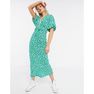 エイソス レディース ワンピース トップス ASOS DESIGN tie front midi tea dress in green based floral print