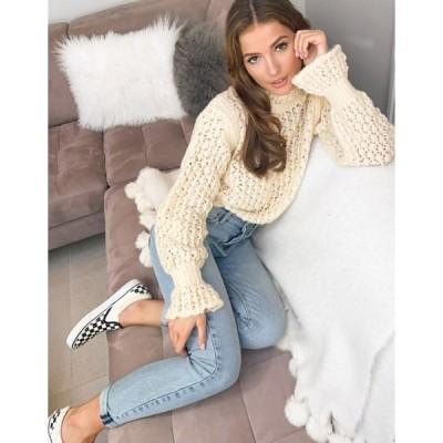 エイソス レディース ニット・セーター アウター ASOS DESIGN sweater with lace stitch and frill sleeve detail in cream