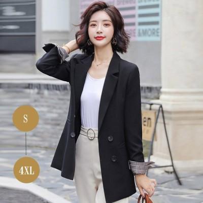 ジャケット スーツ ジャケット テーラードジャケット ブラック 袖折り返し チェック  ビジネス 通勤 OL 女性 オフィスカジュアル 通勤服 オフィス レディ