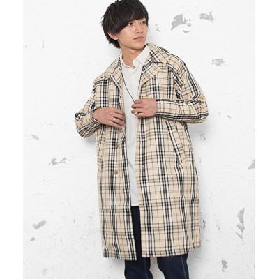 MinoriTY / 【2020秋冬】チェックステンカラーコート オーバーサイズ レトロチェック MEN ジャケット/アウター > ステンカラーコート