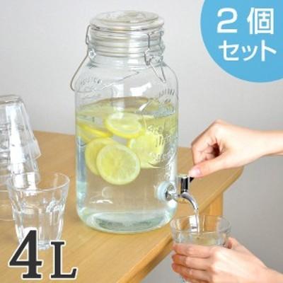 ドリンクサーバー 4L ガラス 蛇口付き 2個セット ピッチャー 水差し ( 梅酒 果実酒 ウォーターサーバー ガラス瓶 ガラス製 瓶 サ