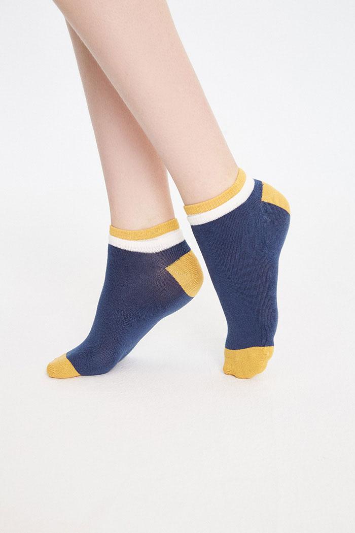 並蒂雙生.雙羅口船型襪(深藍/黃)