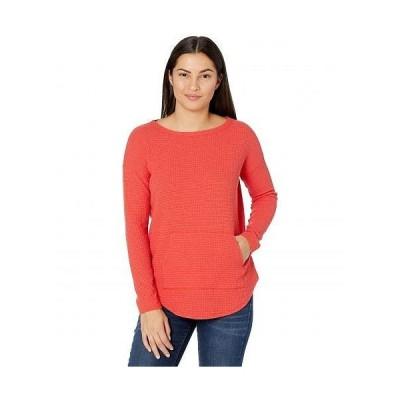 Lilla P リラP レディース 女性用 ファッション Tシャツ Long Sleeve Textured Waffle Boatneck Top - Poppy