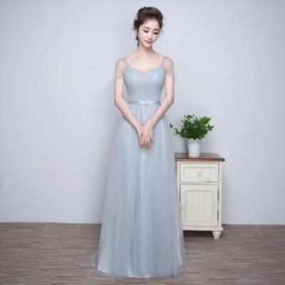 スクエアハートネック 透け感 ワンカラー 無地 綺麗め クロスバック エレガント スレンダーライン ウエストマーク ロング丈 ドレス
