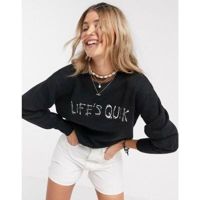クイックシルバー Quiksilver レディース ニット・セーター トップス Life's Quik slogan jumper in black ブラック