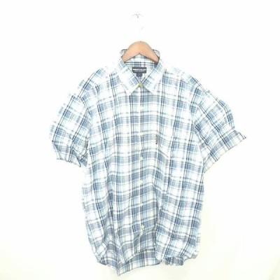 【中古】MEN'SCLUB シャツ チェック カジュアル ステンカラー 綿 コットン 半袖 L 青 白 ブルー ホワイト /TT16 メンズ 【ベクトル 古着】