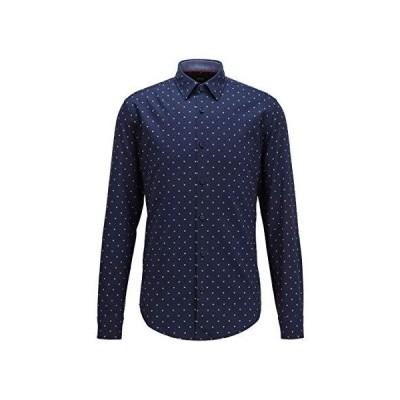 [ボス] シャツ/ブラウス スリムフィットシャツ コットン リミテッドプリント S ブルー