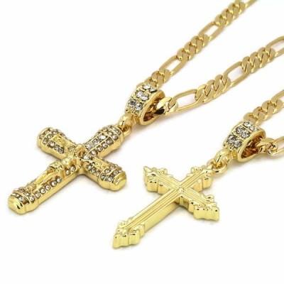 """チェーン ネックレス アメリカン ジュエリー ヒップホップ Men's 14k Gold Plated Hip Hop Sharp Line Cross 012 Jesus 24"""" & 30"""" Figaro Chain"""