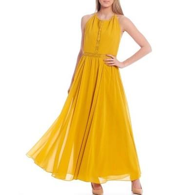 ドレスザポプレーション レディース ワンピース トップス Odette Halter Chiffon Maxi Dress Marigold