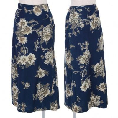 【SALE】45rpm フラワープリントスカート 紺ベージュ3 【レディース】
