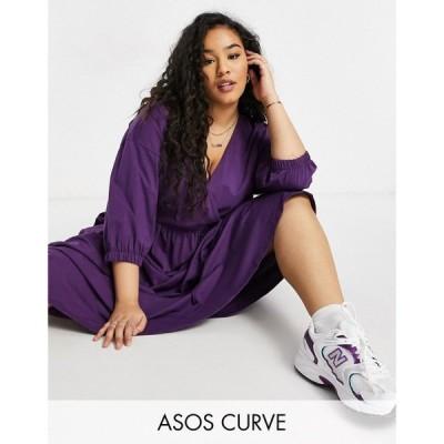 エイソス ASOS Curve レディース ワンピース ラップドレス ミドル丈 ワンピース・ドレス Curve Midi Smock Dress With Wrap Top In Aubergine ディープパープル