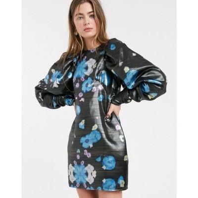 エイソス ASOS WHITE レディース ワンピース ミニ丈 ワンピース・ドレス metallic floral volume sleeve mini dress