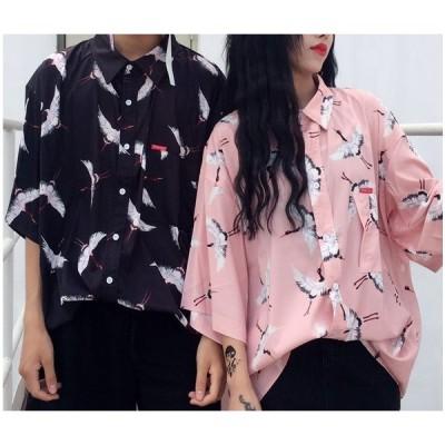 柄シャツ ブラック ピンク