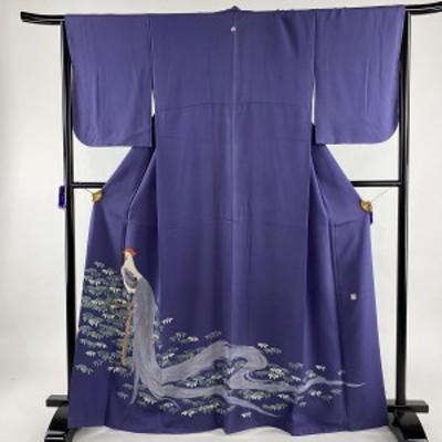 色留袖 名品 落款 一つ紋 にわとり 笹 刺繍 金彩 青紫 袷 身丈166cm 裄丈66cm M 正絹 中古